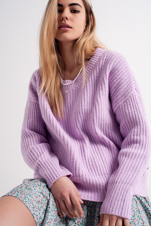 Maglione oversize lilla in maglia a coste inglesi