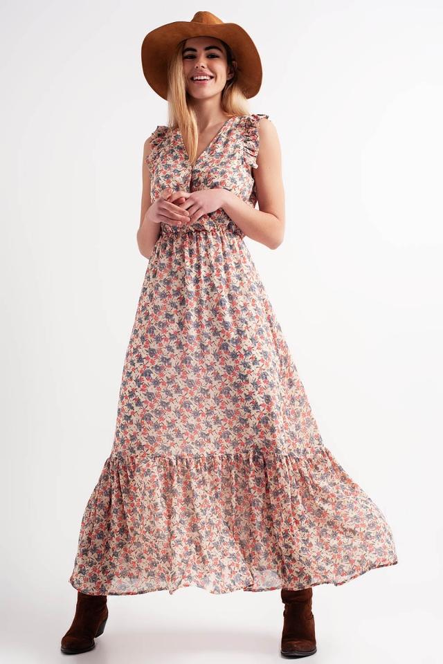 Vestito a strati lungo a fiori