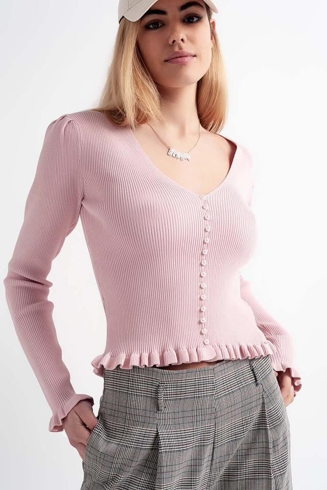 Maglione con fronte perla in rosa