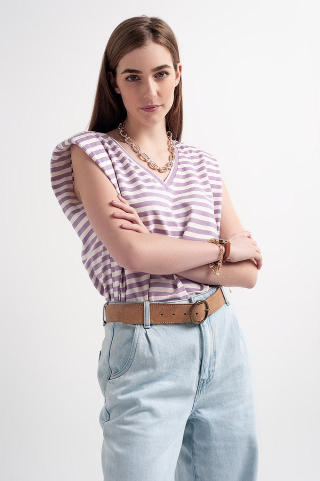 T-shirt senza maniche con spalle imbottite a righe viola