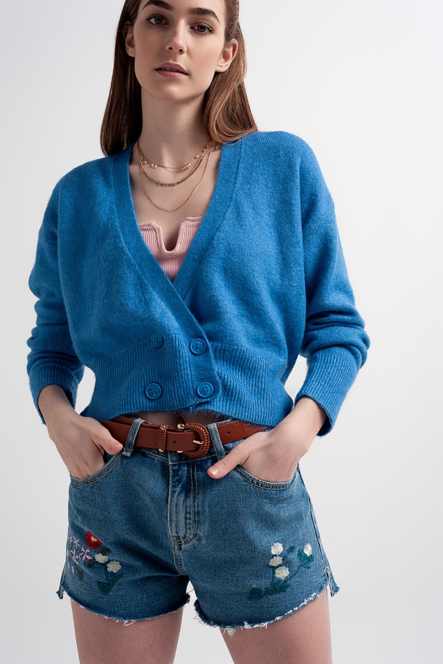Button front cropped knit cardigan in blue