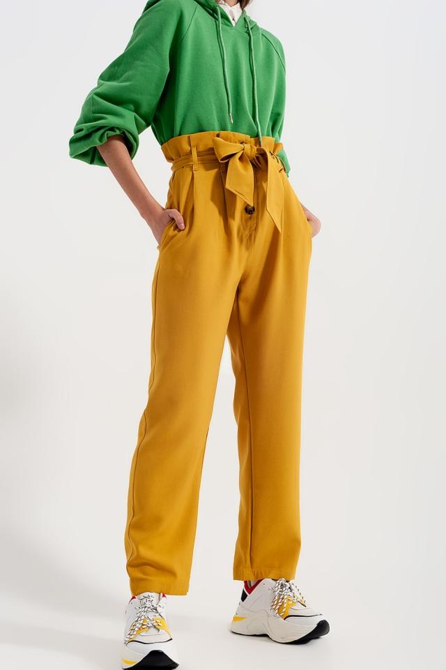 Pantaloni a vita alta con cintura giallo
