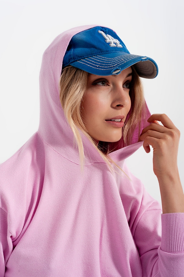 Maglione rosa con cappuccio a manica lunga