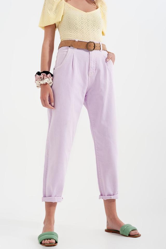 Mom jeans a vita alta con pieghe sul davanti in lilla