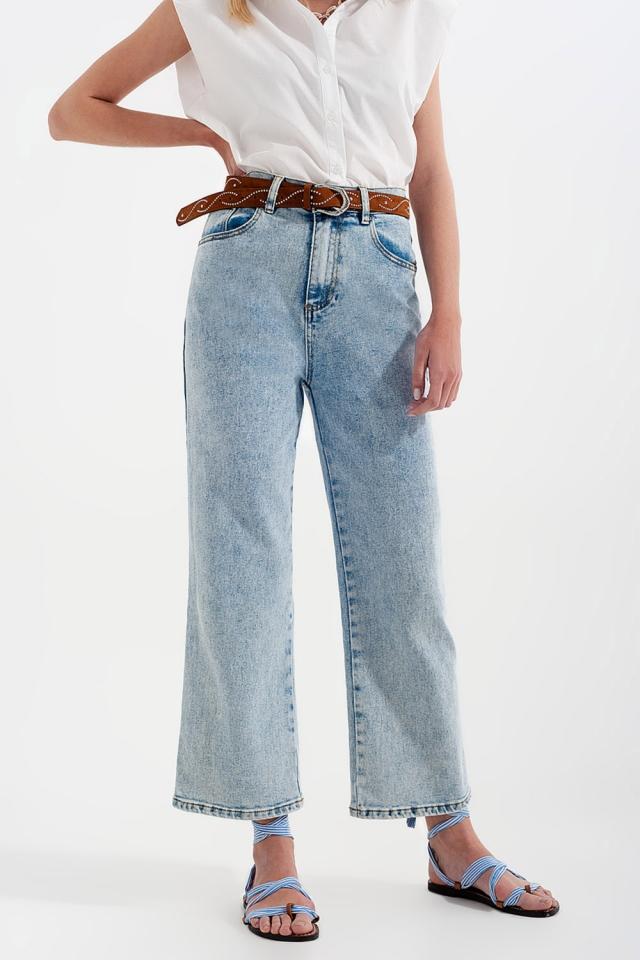 Jean large taille haute Délavage à l'eau de javel