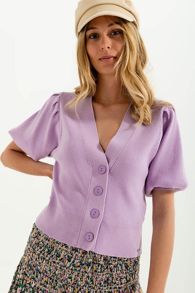 Cardigan color lilla con maniche voluminose