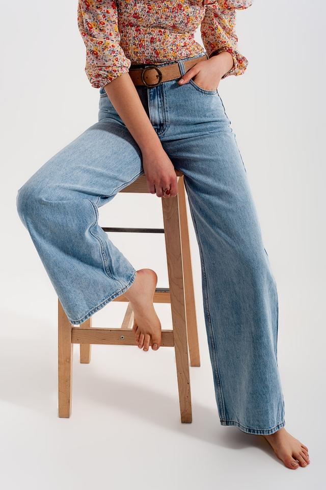 Jeans con fondo ampio a vita alta azzurri