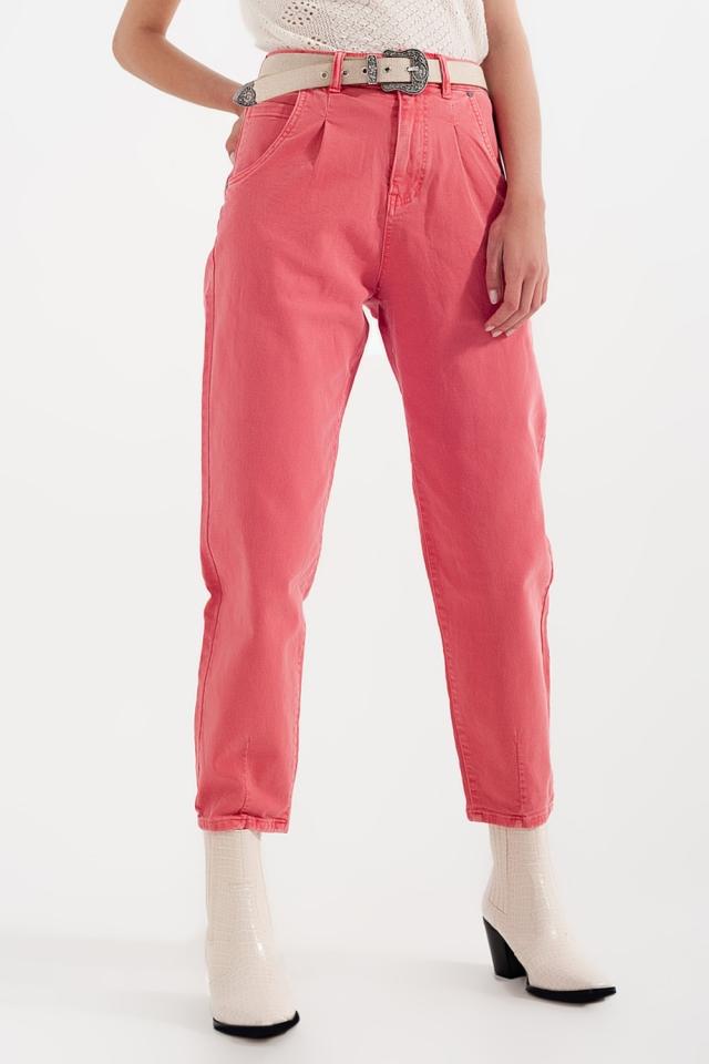 Mom jeans a vita alta con pieghe sul davanti in rosa
