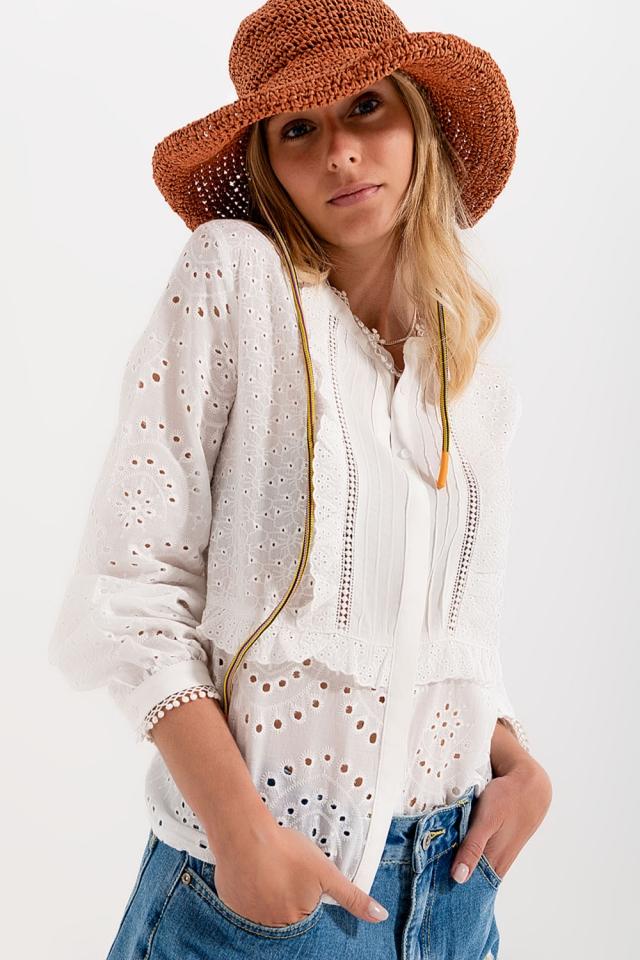 Blusa ricamata con bottoni bianca