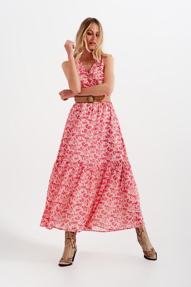 Vestito lungo senza maniche a fiorellini in rosa