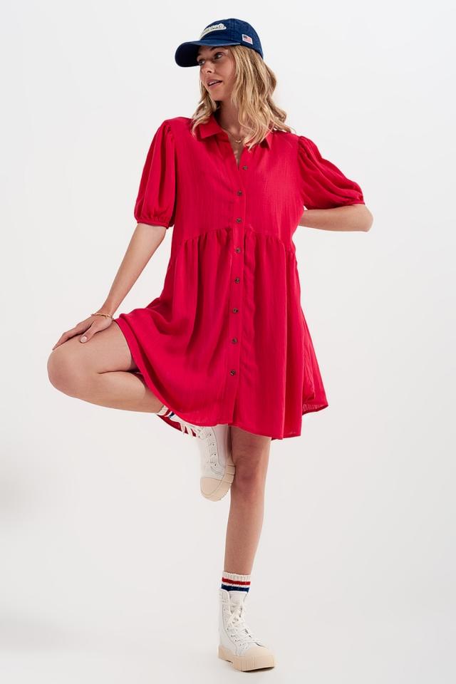 Vestito camicia corto stile grembiule in rosso