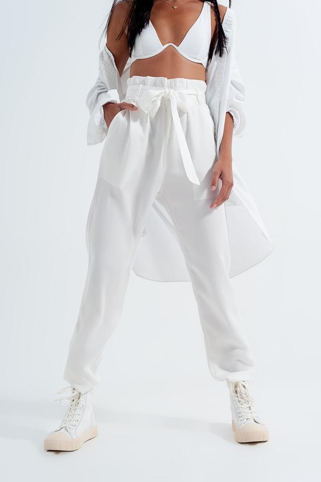 Pantaloni Leggero allacciati in vita bianco