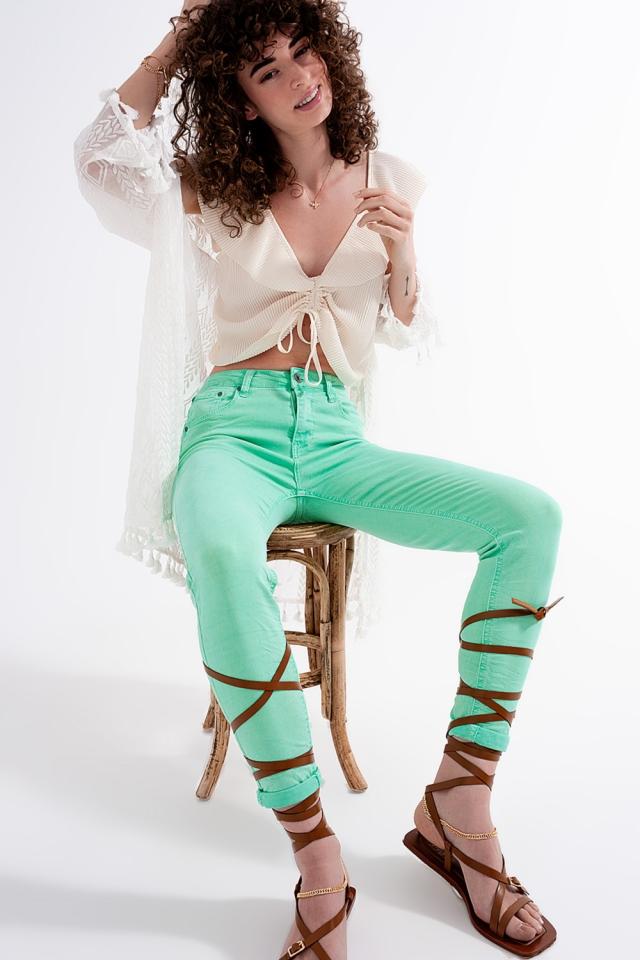 Jeans skinny a vita alta in verde pistacchio