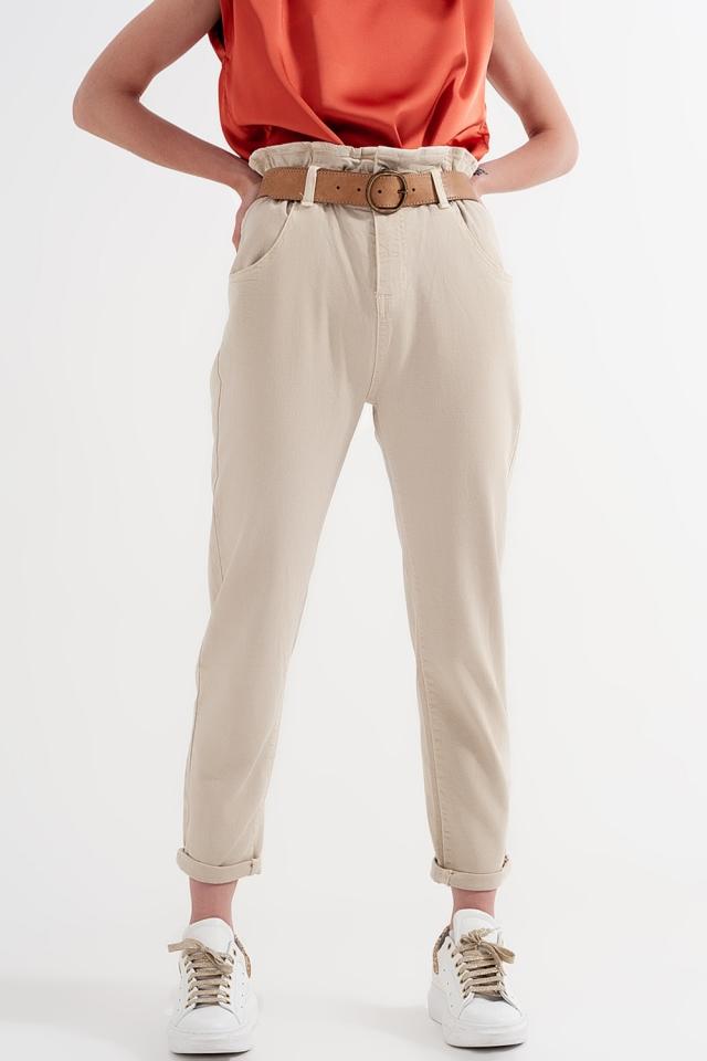 Mom jeans con cintura elasticizzata paperbag beige