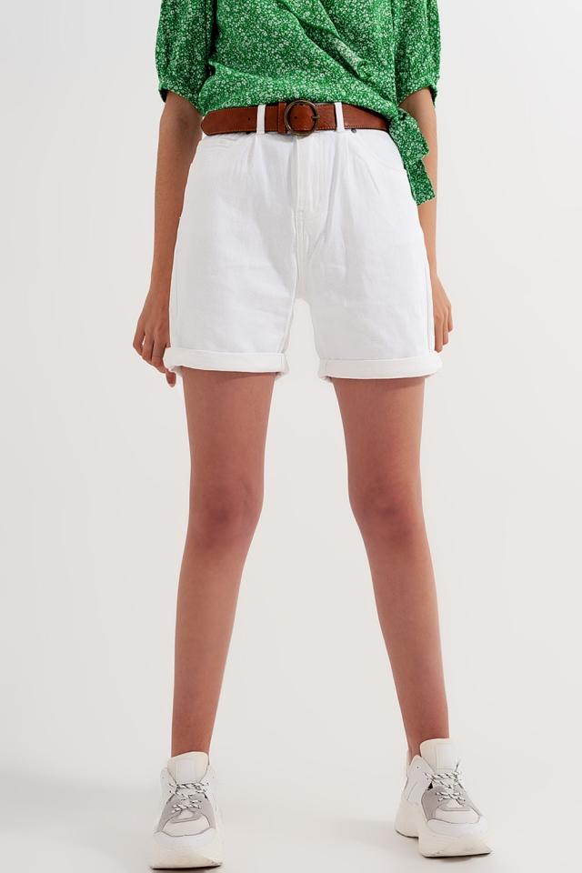 Pantaloncini vita alta lavaggio bianco