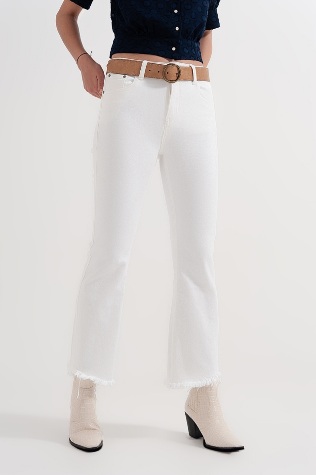 straigh jeans in white with wide ankles