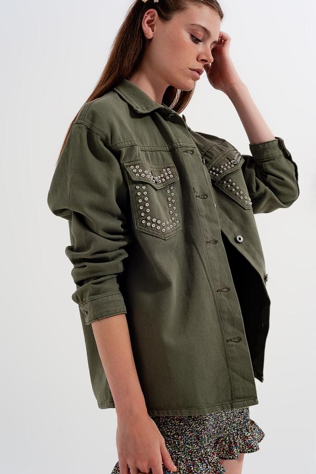 Camicia con tasche verde