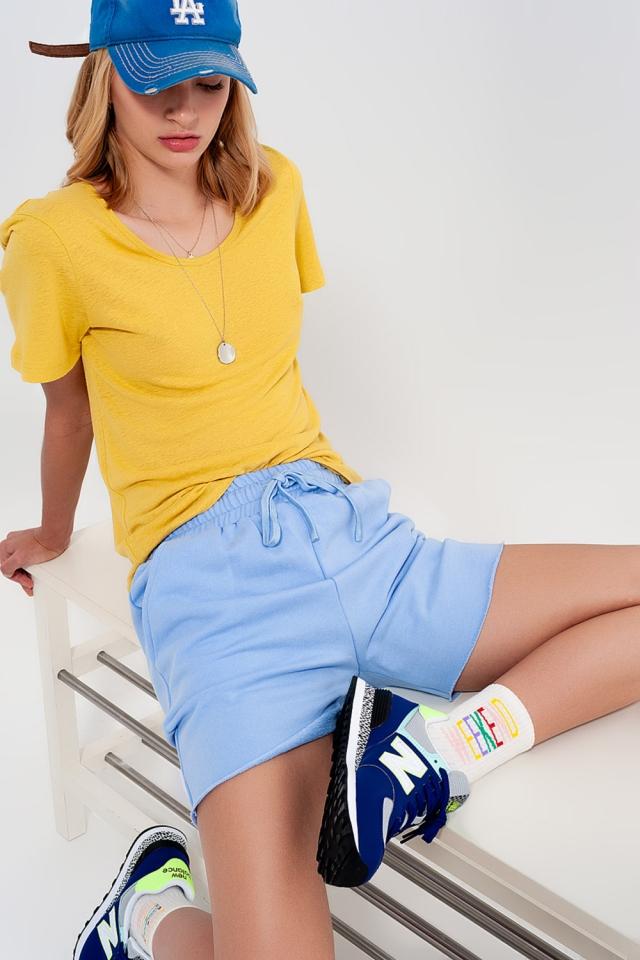 Pantaloncini slim corti in jersey blu