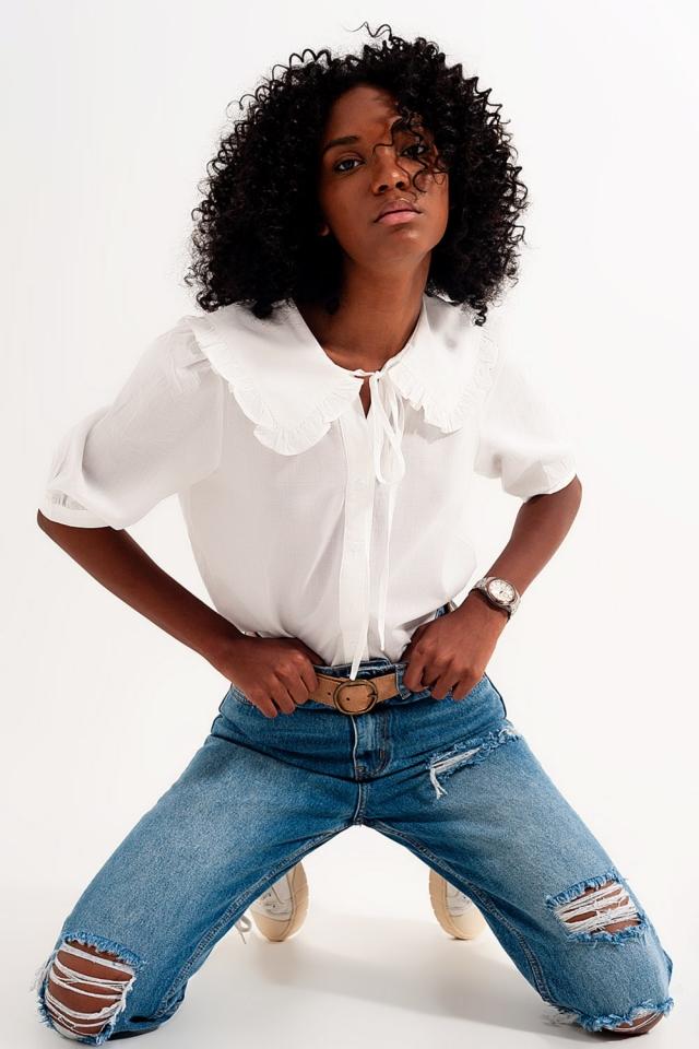 Blusa bianca con colletto western