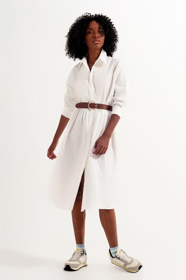 Vestito camicia in cotone organico bianco