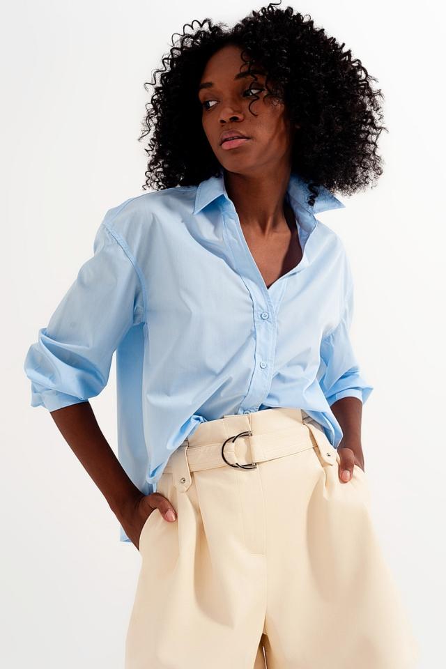 Camicia con colletto a rever in blu
