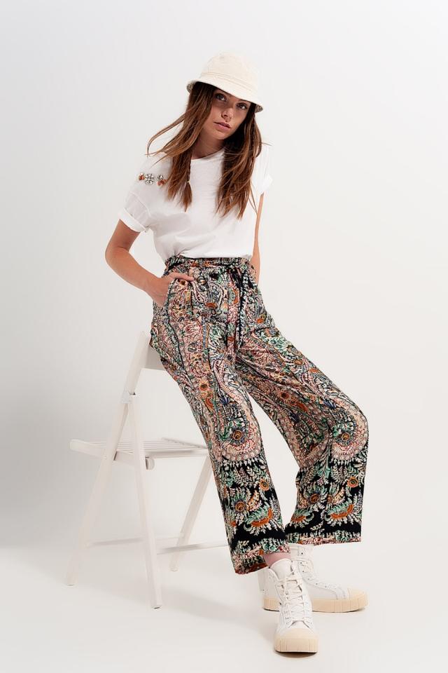 Pantaloni a fondo ampio effetto seta con stampa cachemire