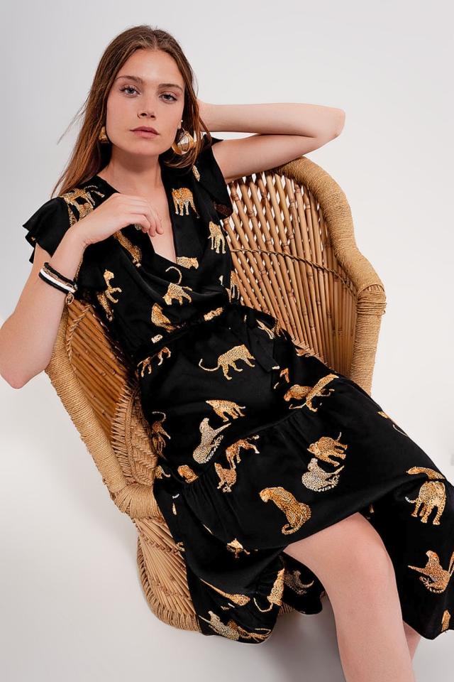 Vestito a portafoglio con stampa di tigri