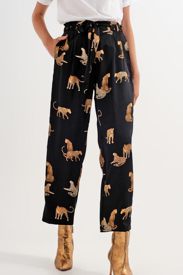 Pantalone in stampa tigre nera