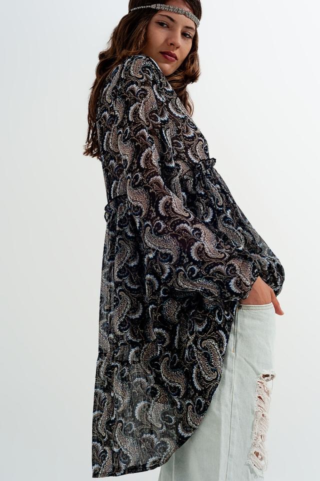 Vestito svasato in chiffon stampato