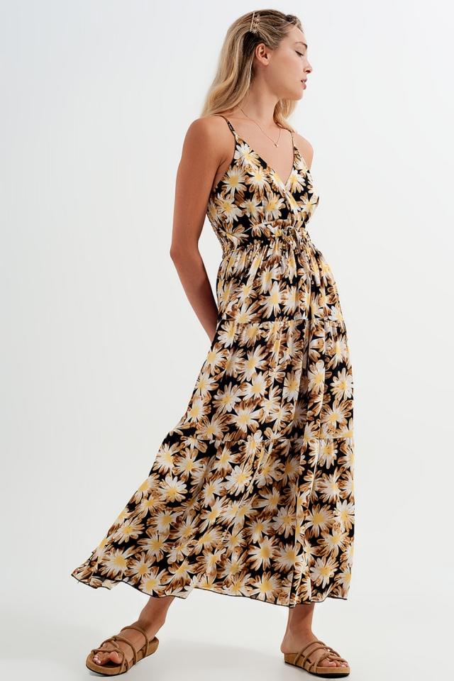Vestito lungo a portafoglio giallo a fiori
