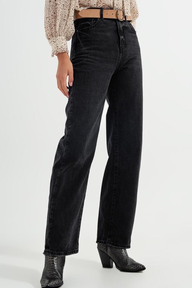 Jeans dritti a vita super alta nero slavato