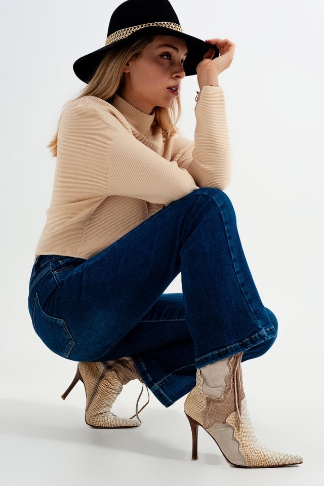 Jeans stretch a vita alta a zampa lavaggio medio