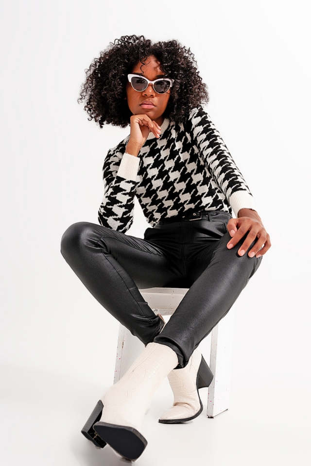 Maglione a maglia con motivo pied-de-poule e maniche lunghe