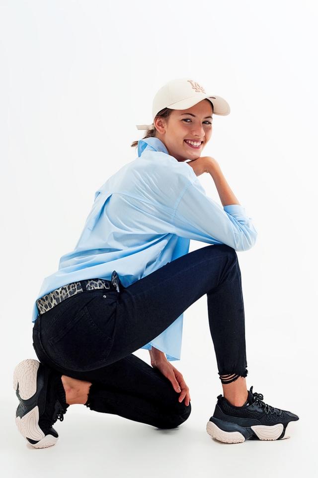 Jeans elasticizzati skinny nero con fondo frastagliato