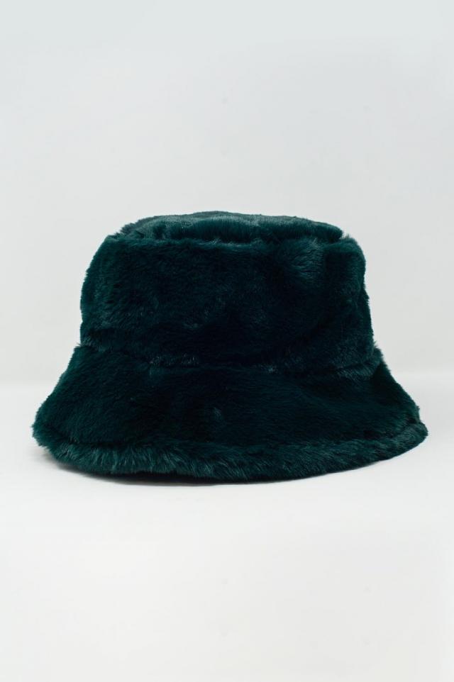 Cappello da pescatore color verde double-face in peluche