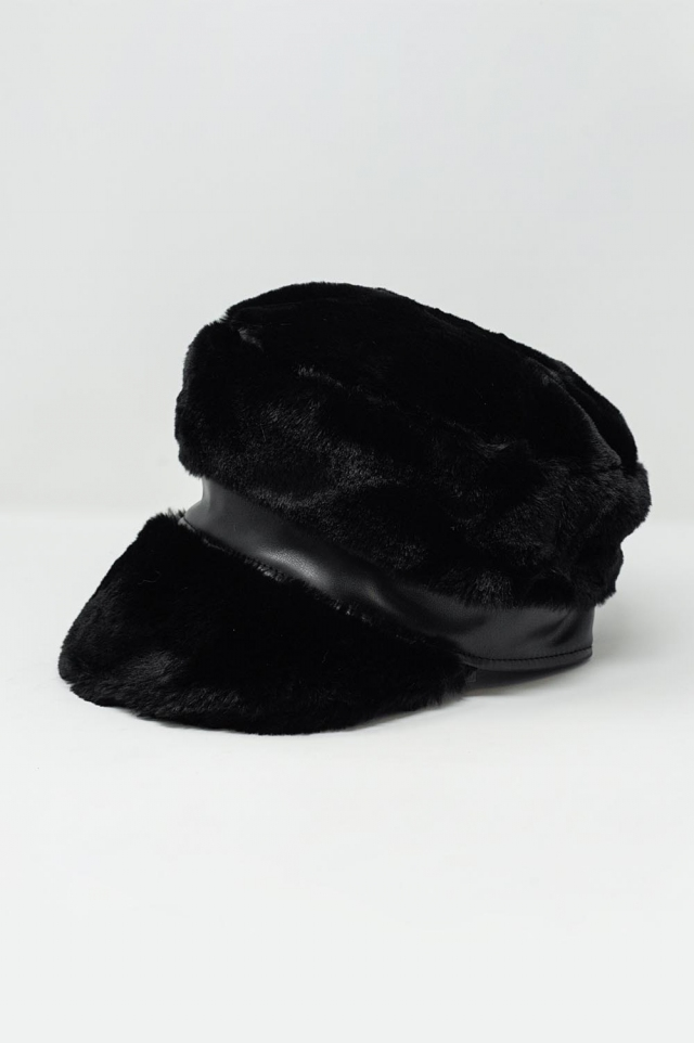 Berretto baker boy in pile borg colore nero