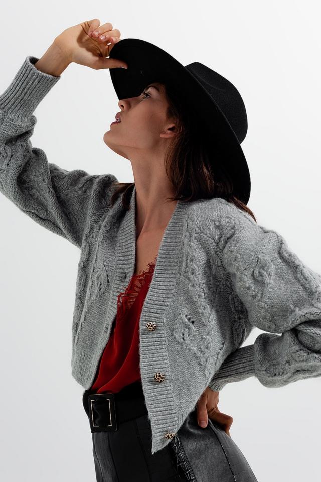 Cardigan a maglia con bottoni di cristallo a manica lunga in grigio
