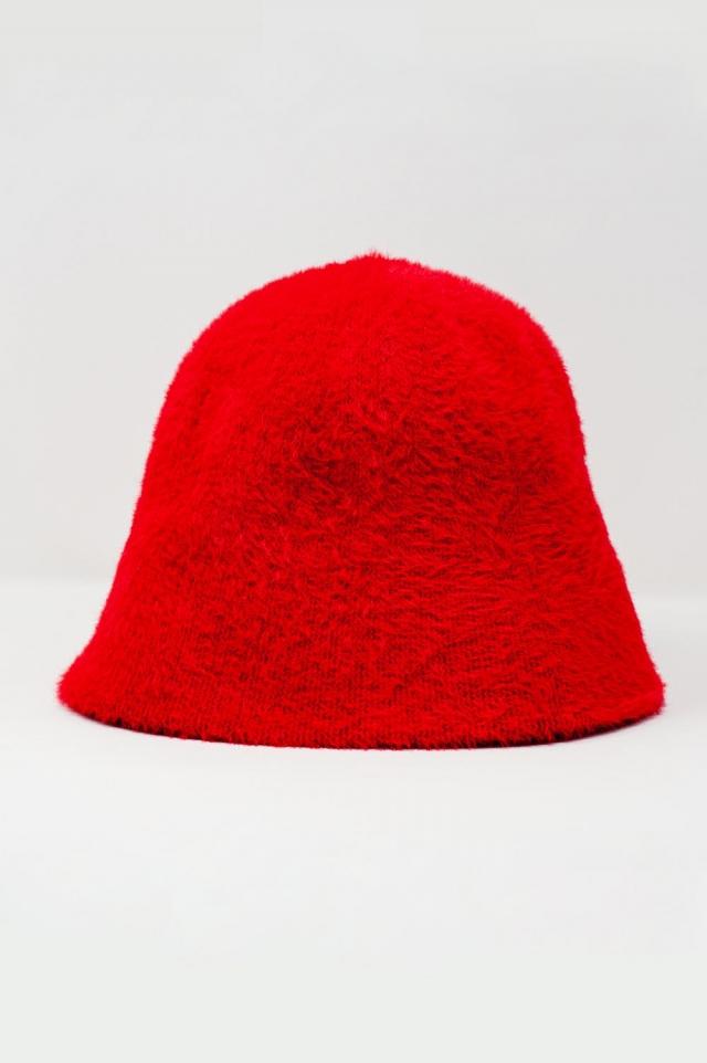 Cappello da pescatore in maglia rosso