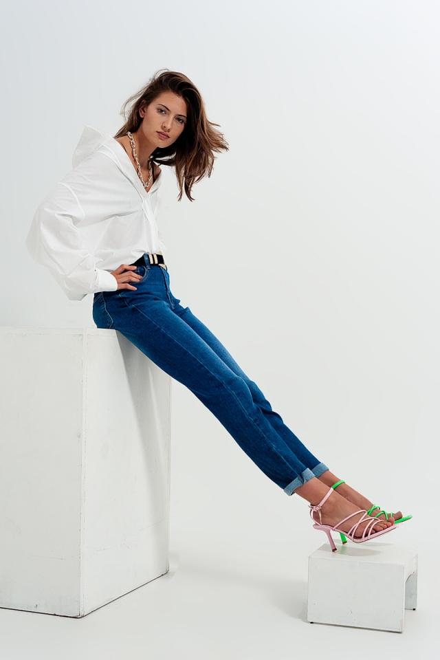 Jeans skinny in misto cotone blu scuro