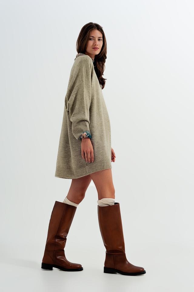 Vestito maglione lavorato a maglia lungo kaki