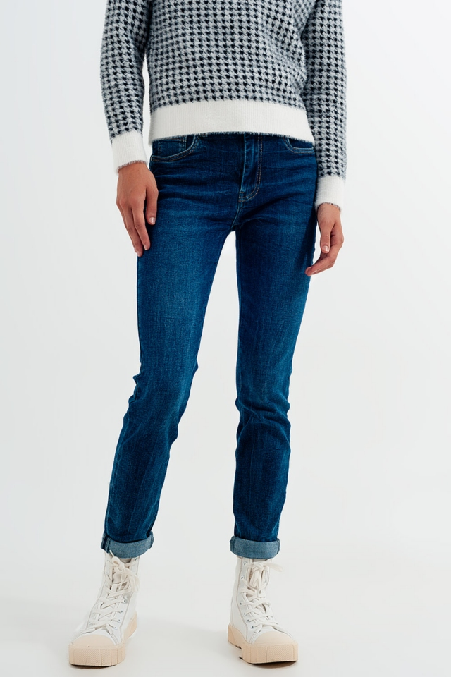 Jeans skinny a vita alta lavaggio blu medio
