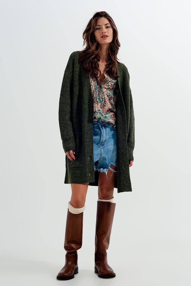 Cardigan lungo in morbida maglia verde