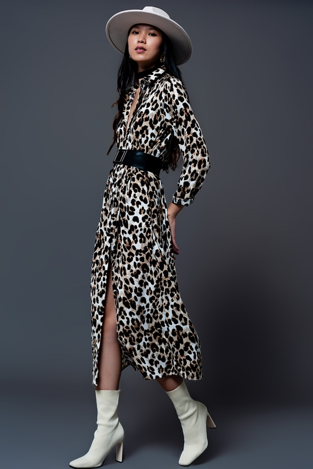 Vestito camicia con stampa leopardata
