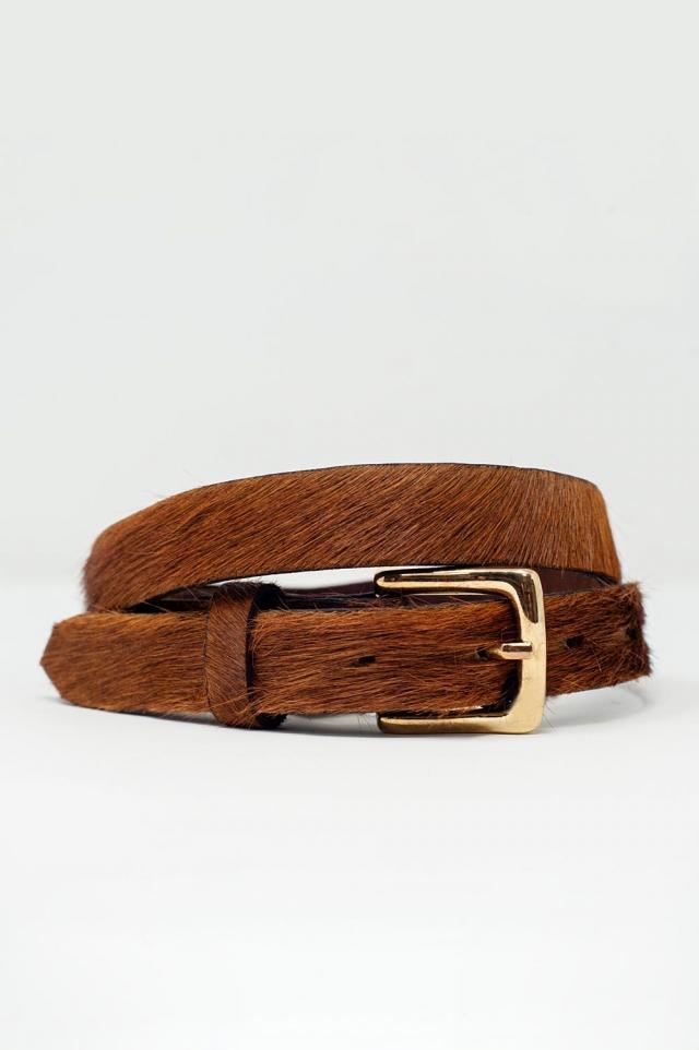 Cintura sottile in pelliccia marrone