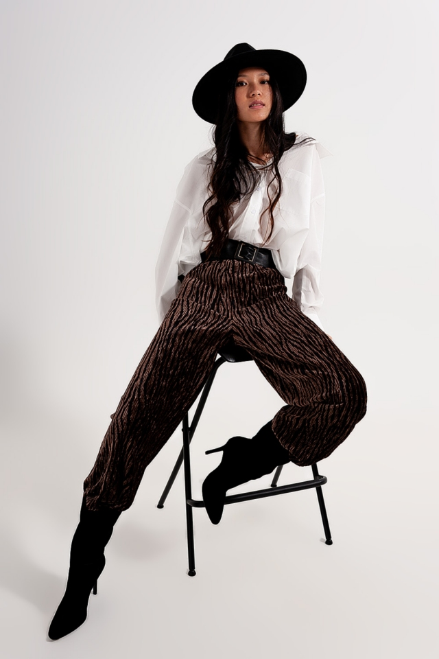 pantaloni in velluto stampata a gamba larga