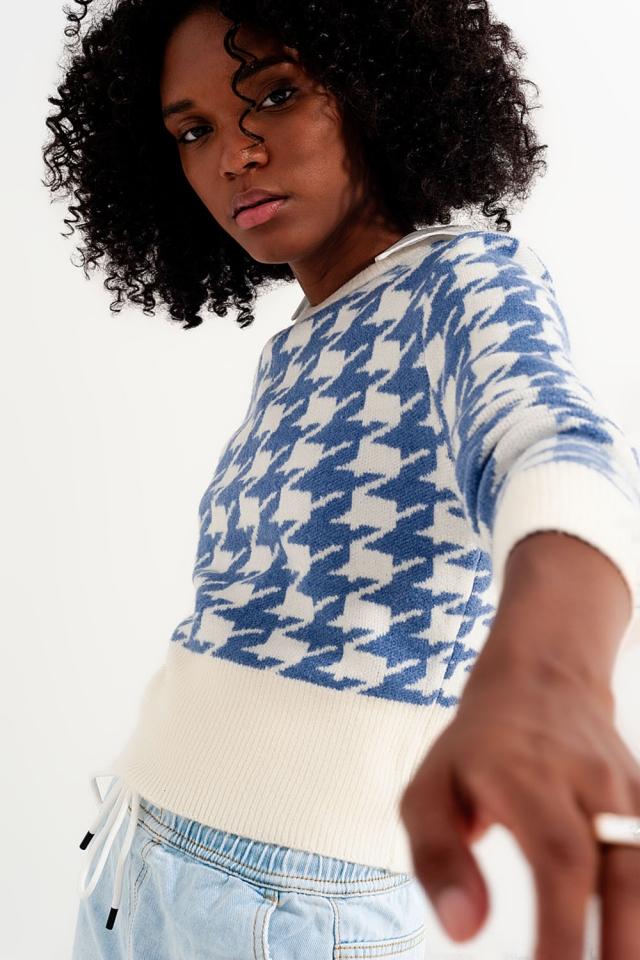Maglione a maglia con motivo pied-de-poule e maniche lunghe blu