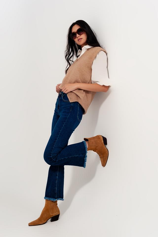Jeans a zampa vita alta lavaggio medio vintage