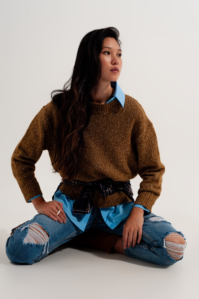 Maglione girocollo punto grosso color senape