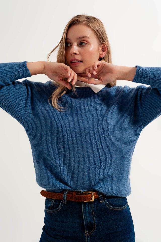 Maglione girocollo di colore blu