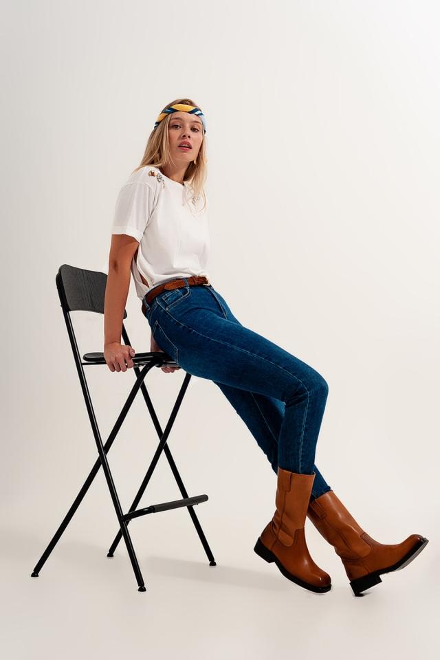 jeans super skinny a vita alta in blu scuro con elastico di alta qualità